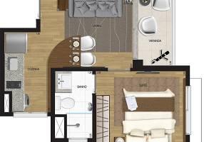Apartamento com 1 Quarto para alugar, 35m²